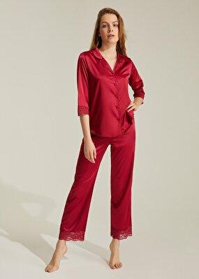 Resim Latte Lace Saten Pijama Takımı - BORDO