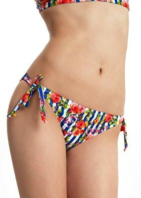 Resim Kalın Bağcıklı Bikini Alt - MAVİ ÇİZGİLİ