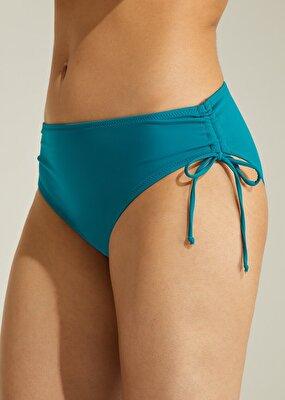 Resim Yan Büzgülü Bikini Alt - YEŞİL