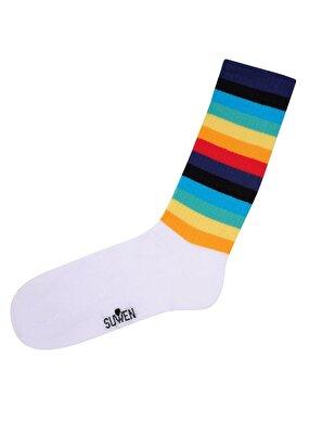 Resim Colourful Soket Çorap - BEYAZ