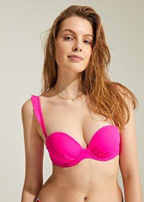 Resim Full Dolgulu Fırfırlı Strapless Bikini Üst - FUŞYA