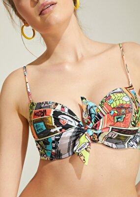 Resim Önden Bağcıklı Full Dolgulu Bikini Üst - POP ART