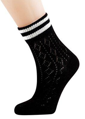 Resim Ajur Soket Çorap - SİYAH