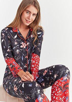Resim Viola Maskulen Pijama Takımı - ÇİÇEK BASKILI
