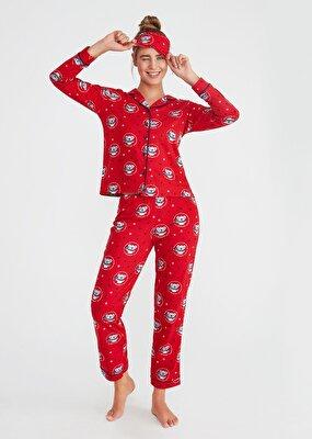 Resim Koalina Maskulen Pijama Takımı - KIRMIZI BASKILI