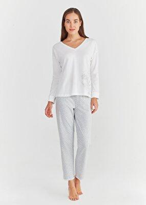 Resim Lily Pijama Takımı - GRİ BASKILI