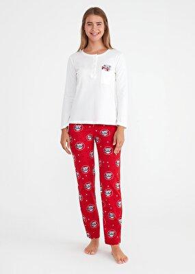 Resim Koalina Pijama Takımı - KIRMIZI BASKILI