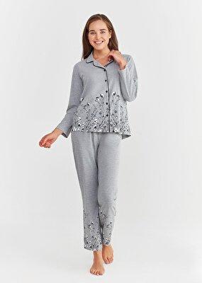Resim Pearl Maskulen Pijama Takımı - GRİLİ