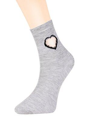 Resim Tulle Heart Soket Çorap - GRİ