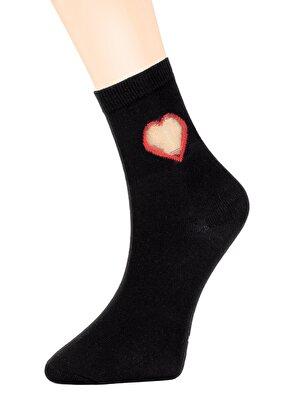 Resim Tulle Heart Soket Çorap - SİYAH