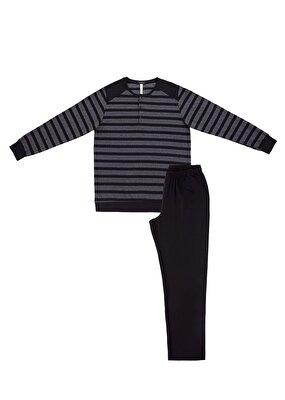 Resim Dark Melange Pijama Takımı - SİYAH