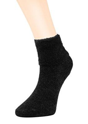 Resim Kadife Puffy Soket Çorap - SİYAH
