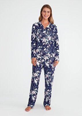 Resim Exotic Maskulen Pijama Takımı - ÇİÇEK BASKILI