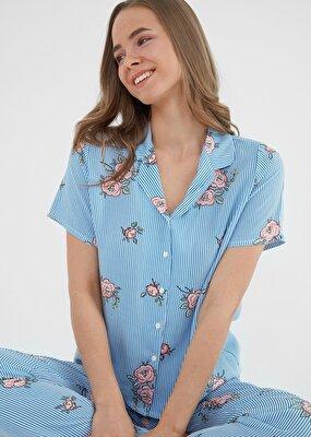 Resim Etamine Maskulen Pijama Takımı - MAVİ