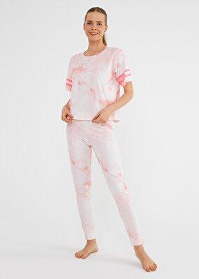 Resim Batik Pijama Takımı - PEMBE