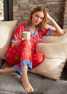 Resim Vilma Maskulen Pijama Takımı - KIRMIZI BASKILI