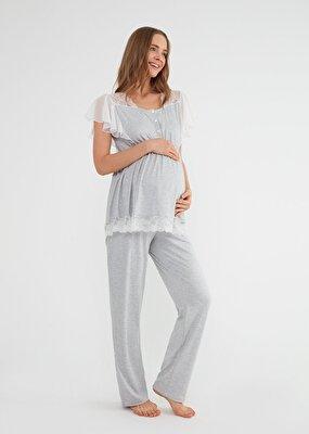 Resim Mia Hamile Lohusa Pijama Takımı - GRİLİ