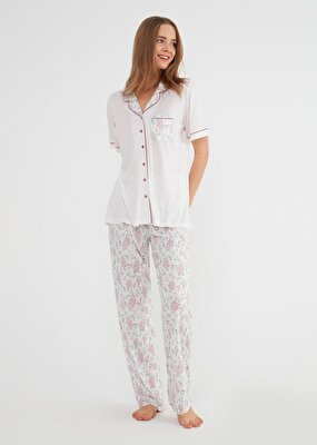 Resim Rose Maskulen Pijama Takımı - ÇİÇEK BASKILI