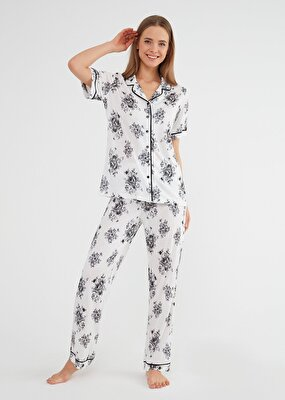 Resim Lorena Maskulen Pijama Takımı - SİYAH BASKILI