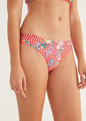Resim Yanı Pileli Bikini Alt - EKOSE DESENLİ
