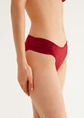Resim Yanı Pileli Bikini Alt - BORDO
