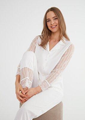 Resim Pansy Maskulen Pijama Takımı - EKRU