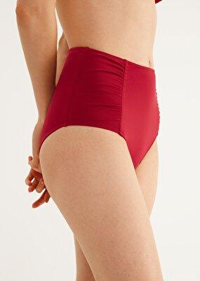 Resim Yanı Pileli Yüksek Bel Bikini Alt - BORDO
