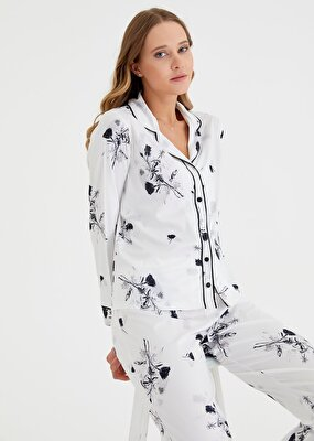 Resim Japan Rose Maskulen Pijama Takımı - EKRU