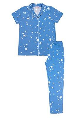 Resim Fiona Çocuk Maskulen Pijama Takımı - MAVİ