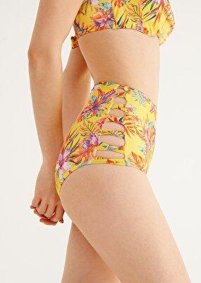 Resim Yüksek Bel Yanı Biyeli Desenli Bikini Alt - TROPİKAL BASKILI
