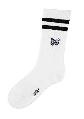 Resim Sporty Çorap - KELEBEK BASKILI