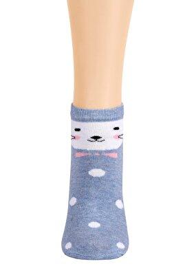 Resim Renkli Patik Çorap - PUANTİYELİ