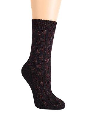 Resim Shinny Line Soket Çorap - BORDO