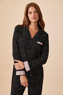 Resim Lady Maskulen Pijama Takımı - SİYAH BASKILI
