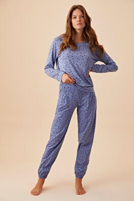 Resim Heart A Pijama Takımı - MAVİ