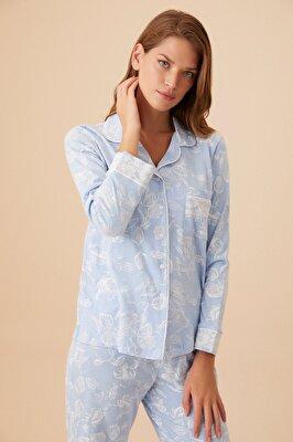 Resim Bonnie Maskulen Pijama Takımı - MAVİ
