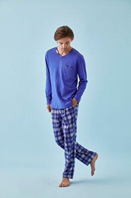 Resim Richard Erkek Pijama Takımı - MAVİ