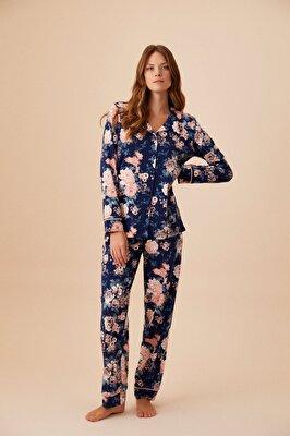 Resim Mary Maskulen Pijama Takımı - LACİVERT BASKILI