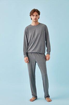 Resim Cyrus Erkek Pijama Takımı - KOYU GRİ